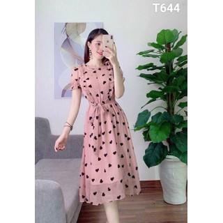 Đầm voan xoè nữ bèo siêu xinh in trái tim đi chơi dạo phố t644 - T644 thumbnail