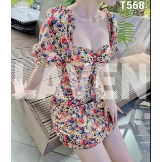 Đầm lụa hoa nhún tay có mút ngực dáng xoè khoét ngực T568 - T568 thumbnail