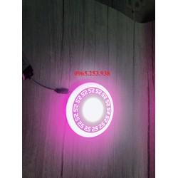 Đèn led âm trần trang trí 6w viền màu Hồng 3 chế độ siêu sáng, tiết kiệm điện