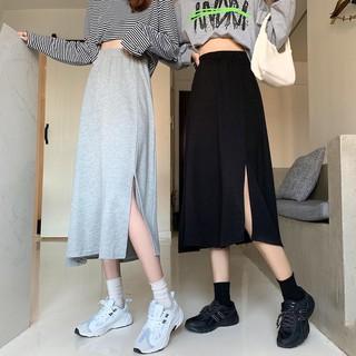 Chân váy thun xẻ tà dài đơn giản cá tính phong cách sang trọng freesize - CV02 thumbnail