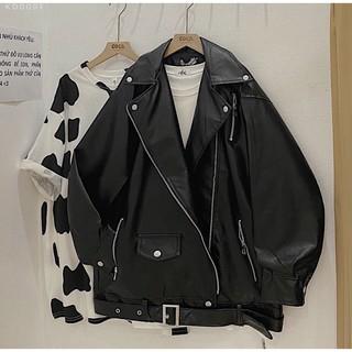 Áo khoác da nữ khóa dáng biker fom rộng oversize siêu xinh - AD03 thumbnail