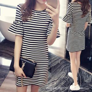 [SKM] Váy kẻ ngang kiểu Hàn Quốc Sọc Ngắn Tay Áo Thun Nữ Áo Sơ Mi Nữ đầm 206376 + 206342 - MSP thumbnail