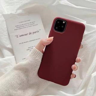 Ốp lưngnhựa dẻo Iphone trơn Màu đỏ mận 5 5s 6 6plus 6s 6splus 7 7plus 8 8plus x xr xs xs max 11 12 pro max plus promax - UA0012XR thumbnail