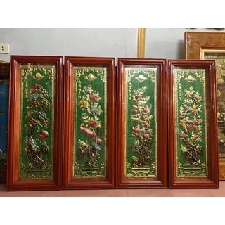 Bộ Tranh Tứ Quý đồng vàng 40 x 100cm - Tứ Quý nền xanh thumbnail