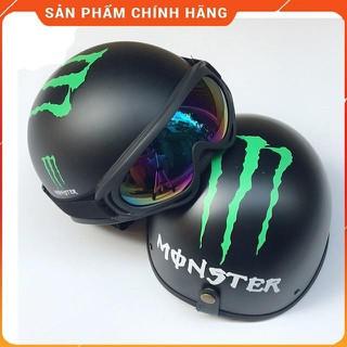 Mũ Bảo Hiểm nửa đầu 1 2 -Tem Monster, Nón Bảo Hiểm Đi Phượt Nửa Đầu - E59MM thumbnail