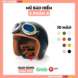 [Mã INCU1708 hoàn 15K xu đơn 50K] Mũ bảo hiểm 3 phần 4 nhiều màu, nón bảo hiểm 3 phần 4 nam nữ freesize - E56MM thumbnail