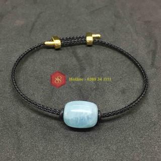 Vòng lu thống đá thạch anh aquamarine tự nhiên xanh nước biển dây thép - 6568_49104418 thumbnail
