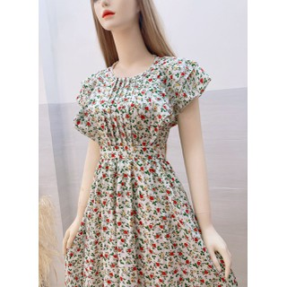 Đầm Voan Hoa Ngắn Tay cổ tròn Xinh Xắn Phong Cách Dành Cho Nữ - đầm voan hoa nhí thumbnail