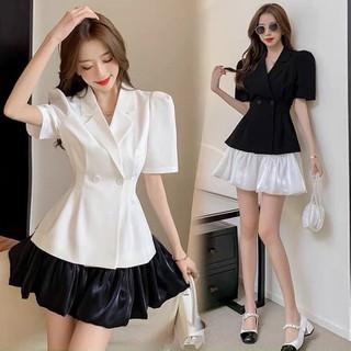 Sét Vest áo nữ váy xoè bồng chất lụa 2 màu đen trắng - sét vét thumbnail