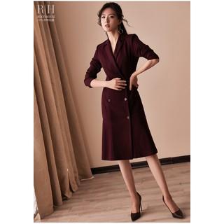 Đầm vest đấp chéo tay dài dáng đuôi cá màu đỏ đô - 0009658 thumbnail