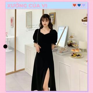 Váy nữ dài chữ A cổ vuông tay phồng kiểu Pháp vải chiffon DD013 - DD013 thumbnail
