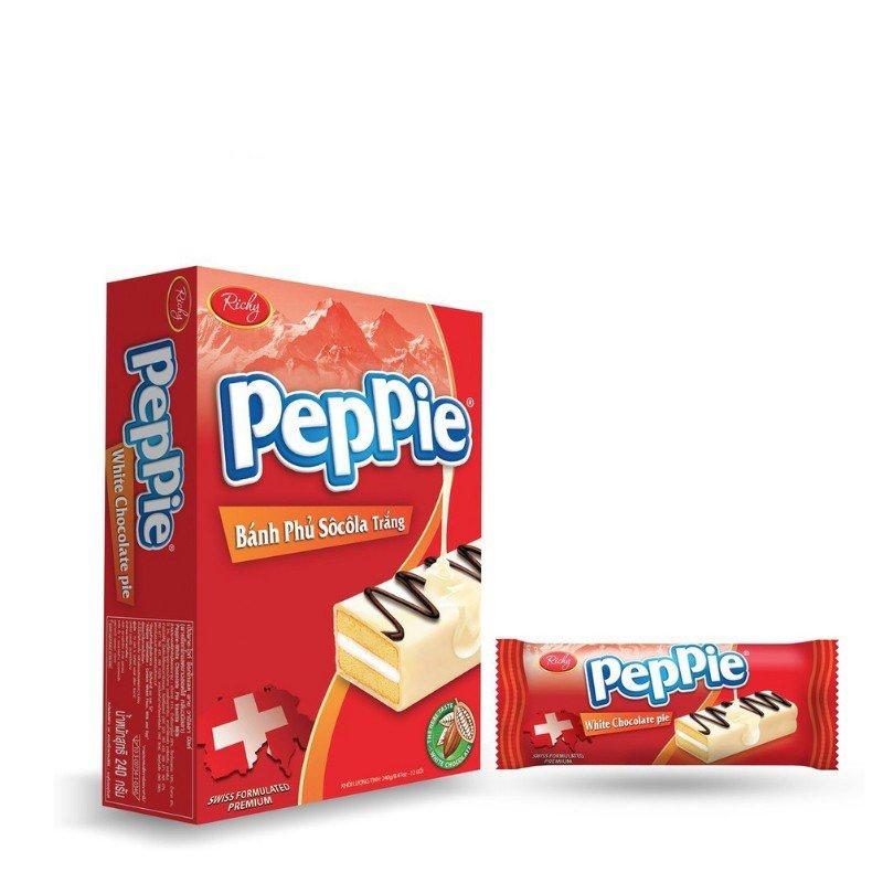 Bánh Peppie Richy phủ socola trắng hộp 120gr  6 bánh  - bánh bông lan kem bơ sữa - HSD T1/2022