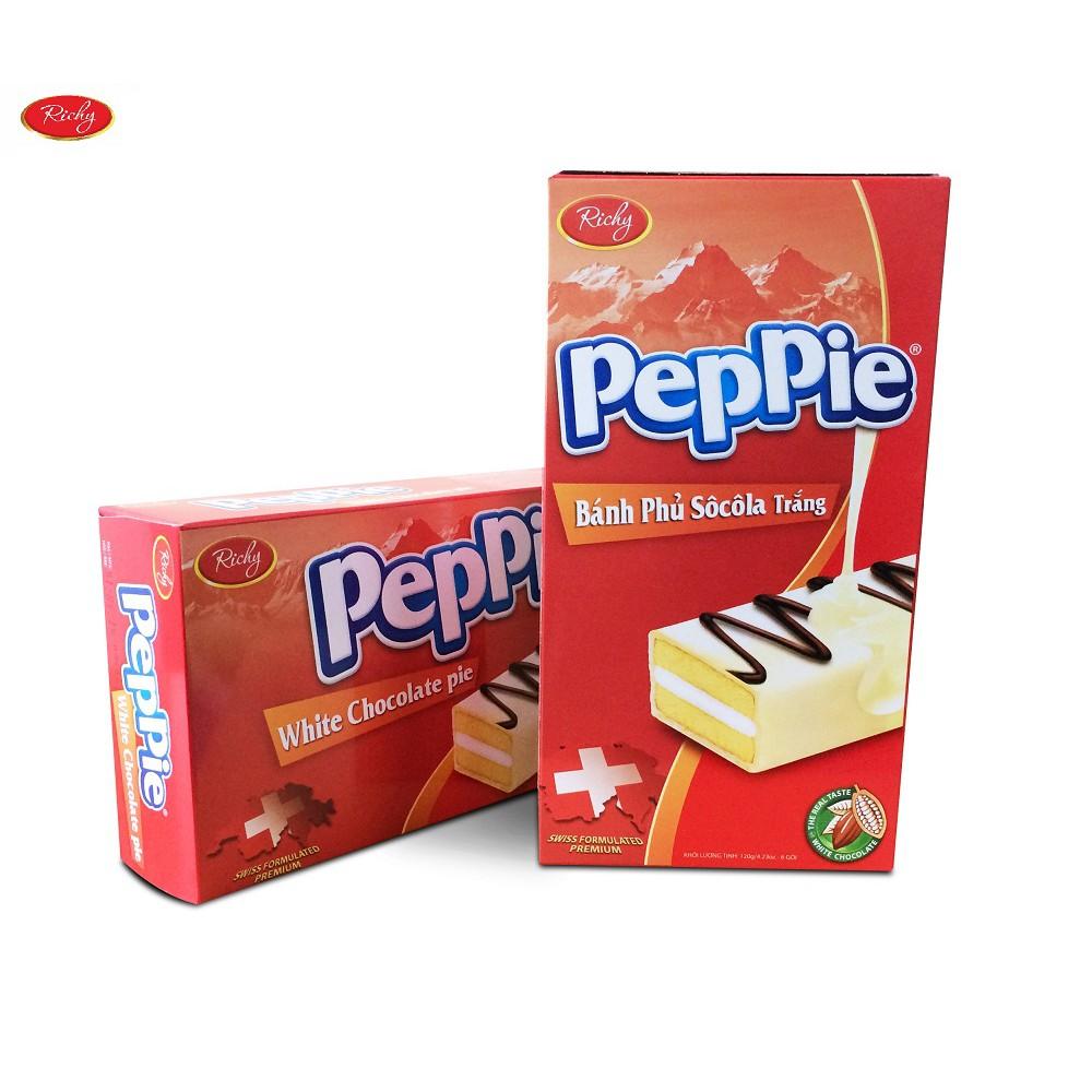 Hình ảnh Bánh Peppie Richy phủ socola trắng hộp 120gr  6 bánh  - bánh bông lan kem bơ sữa - HSD T1/2022