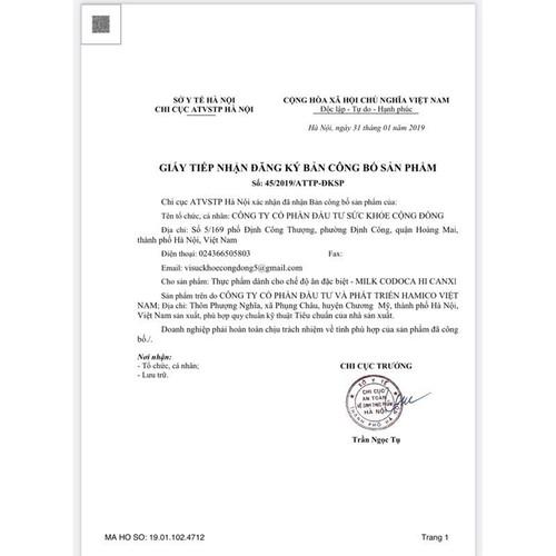 Sữa Milk Codoca Hi Canxi 900g – Sản phẩm phân phối trong đề án 818 Tổng cục dân số – Bộ