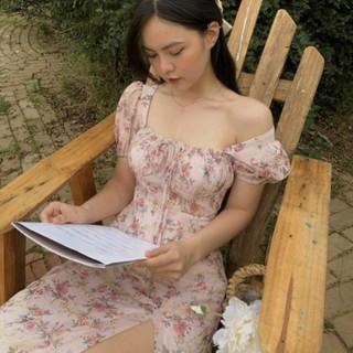 [Ảnh thật] Đầm hoa thêu cổ vuông nhún ngực xẻ tà lai bèo - DD006 thumbnail
