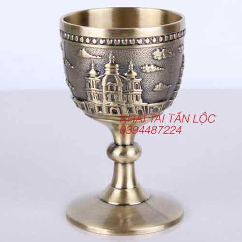 Ly rượu kiểu cổ phong cách Châu Âu bằng đồng