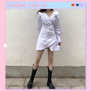 Váy trắng sơ mi dáng chữ A bất cân xứng phong cách ulzzang Hàn Quốc DN004 - DN004 thumbnail