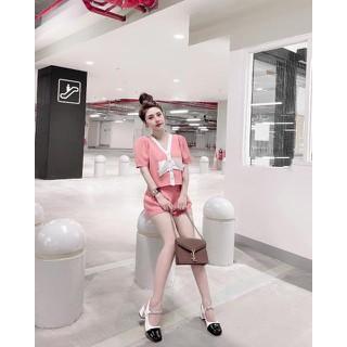 Sét áo kiểu nữ kèm quần short bo chun lưng chất kaki thái mềm mịn - sét thumbnail