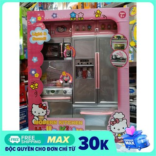 26215HK Modern Kitchen Hello Kitty - Đồ chơi tủ bếp 2 ngăn có tủ lạnh, lò nướng, lắp pin có đèn và nhạc - 26215HK thumbnail