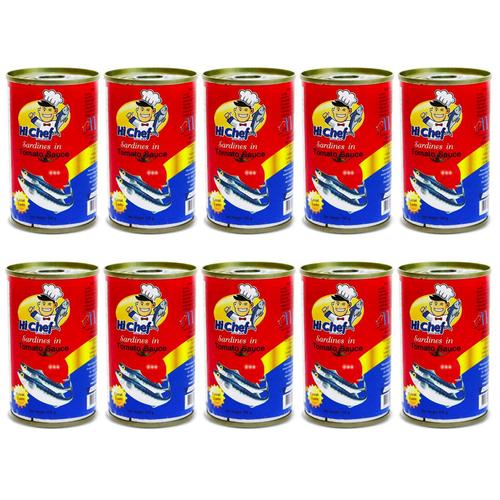 [ĐƯỢC XEM HÀNG] 10 lon Cá mòi hộp sốt cà Hi Chef 145g/lon