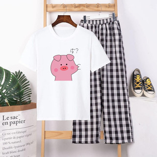 Sét Quần Áo Nữ Thời Trang Mặc Đi Chơi, Áo Phông Cotton In Lợn Bẹo Má Kèm Quần Dài Phong Cách Teen Hàn Quốc - PBP01 thumbnail