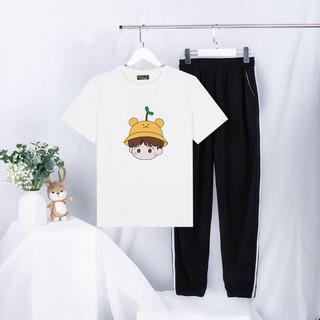 Sét Quần Áo Nữ Thời Trang Ulzzang Mặc Đi Chơi, Áo Cotton In 3D Hình Bé Đội Mũ Mầm Cây Kèm Quần Dài Phong Cách Hàn Quốc - PBP02 thumbnail