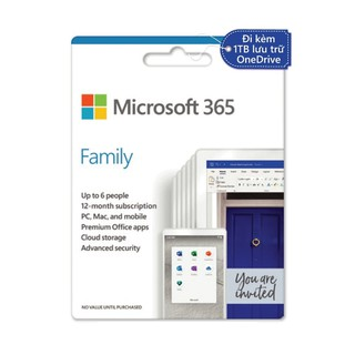 Phần mềm văn phòng Mirosoft Office 365 Family - Hàng chính hãng nguyên hộp nguyên seal - MS365F thumbnail
