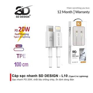Cáp sạc nhanh 20w chính hãng SD Design L10, USB C Sang Lighting sạc ổn định cho điện thoại ip 6 đến 13 pro max - SD-L10 thumbnail