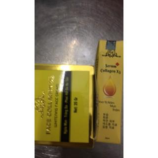 Combo kem Face và serum Collagen x3 mờ nám hết tàn nhang 20ml - Combo kem face serum 8