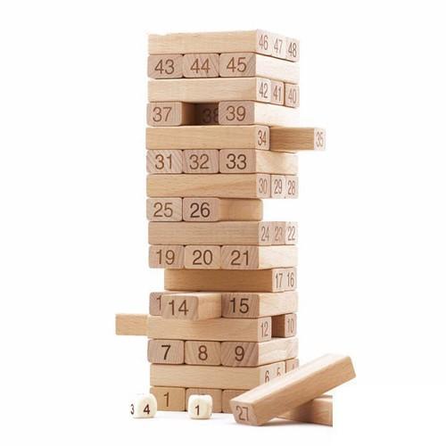 [Loại To] Bộ đồ chơi rút gỗ 48 thanh kèm 4 con súc sắc