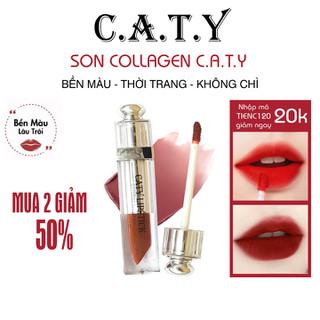 (Màu Đỏ Cherry) Son Môi Collagen CATY Chất Mềm Mịn - Siêu Lì - Không Chì - K-03 thumbnail