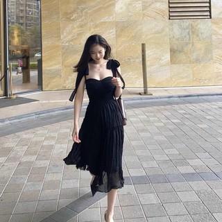 [Ảnh thật] Set áo 2 dây cột nơ chân váy voan đen siêu sang - S013 thumbnail