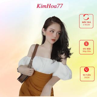 Sét áo chân váy đi dự tiệc freesize kimhoa77 gồm áo trắng trễ vai chất lụa và quần giả váy xếp ly chất đũi - 696_52192918 thumbnail