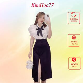 Sét váy áo trắng tiểu thư lụa mix chân váy đen umi xẻ tà freesize kimhoa77 - 696_52186104 thumbnail
