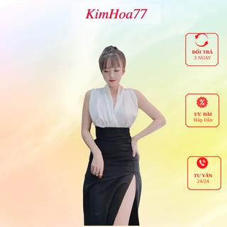 Sét áo chân váy đi dự tiệc freesize kimhoa77 gồm áo trắng 2 vạt chất lụa và chân váy xẻ tà chất umi - 696_52518306 thumbnail