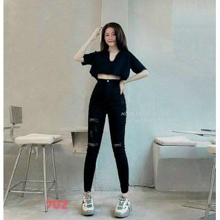 Quần Jean nữ lưng cao chất jean cotton co giãn - QUẦN JEAN NỮ LƯNG CAO DÁNG ÔM thumbnail