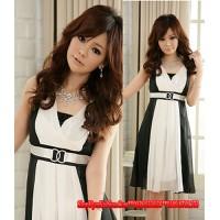 Đầm voan cổ điển sọc xuông đen trắng-D1872