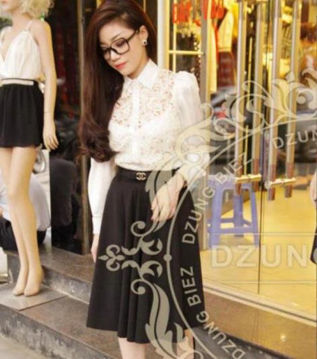 Chân váy xòe đen nơ Chanel - DT 367 1