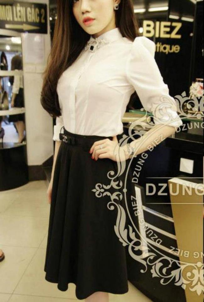 Chân váy xòe đen nơ Chanel - DT 367 2